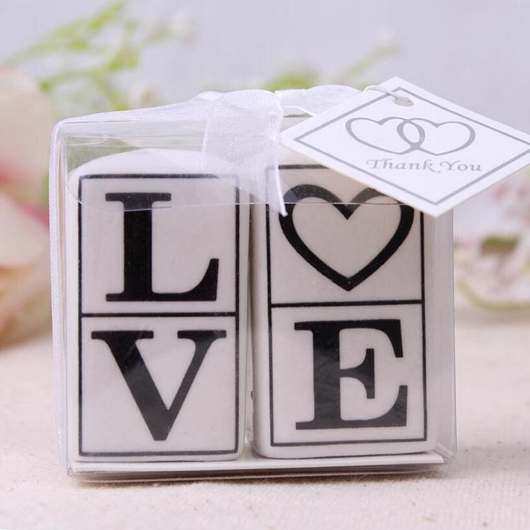 Love letters printing square ceramic salt and pepper shaker souvenir wedding door <strong>gift</strong>