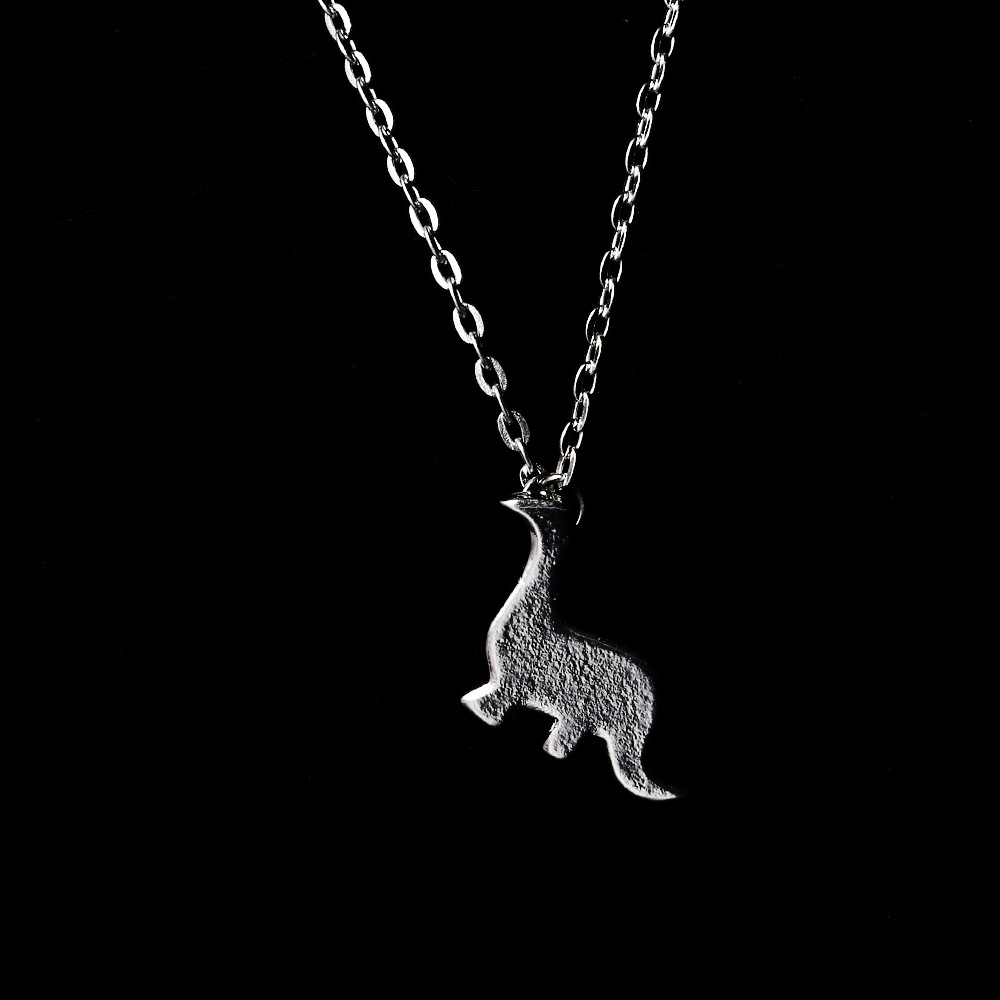 Punk Jewelry Antique Silver Tone Mini Dinosaur Animal Pendant Necklace