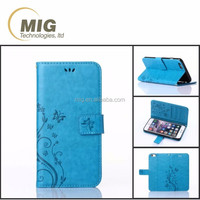 Wallet design cell phone flip cover case for LG G3/ G3 mini with flower pattern and card slots mobile phone for LG LEON/ F60