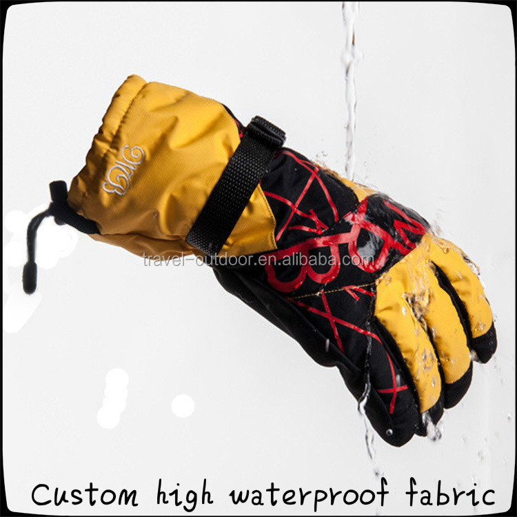 Winter warm snowboard gloves heated mens outdoor sports windproof waterproof Taslon motorcycle riding yellow cool ski gloves