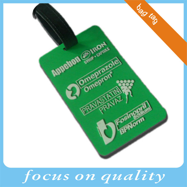 green color embossed 3d vinyl material luggage tags for bag pvc made in China