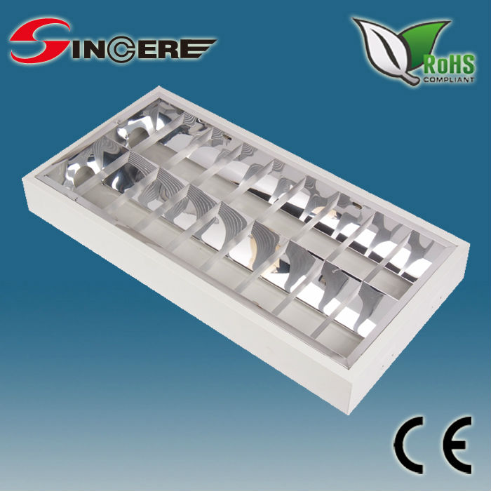 Louver fixture ceiling double tube light fitting