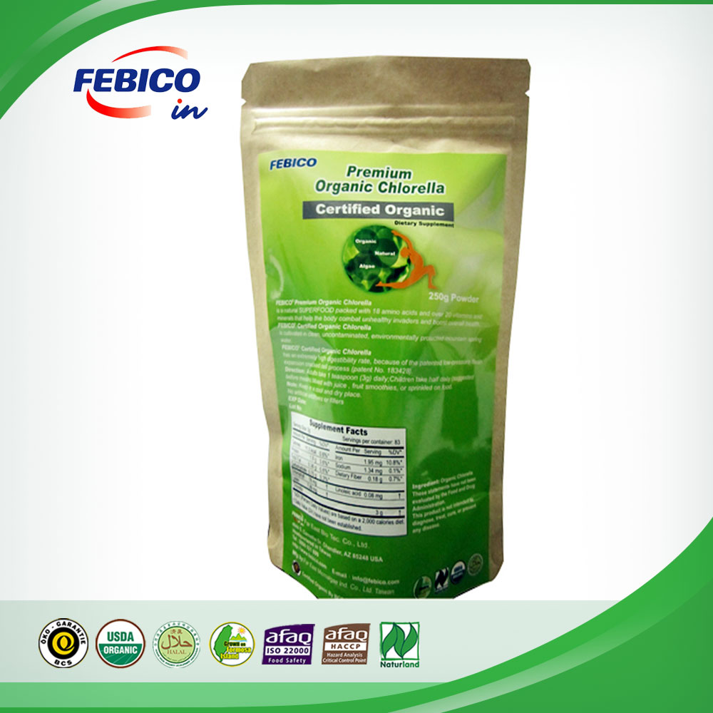 Natural Food Supplements Taiwan Organic Chlorella Vulgaris Powder Neutralizes Bad Air Breathed Into Body and Freshens Breath