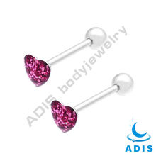 stainless steel Sparkle Tongue Barbell piercings 14gauge