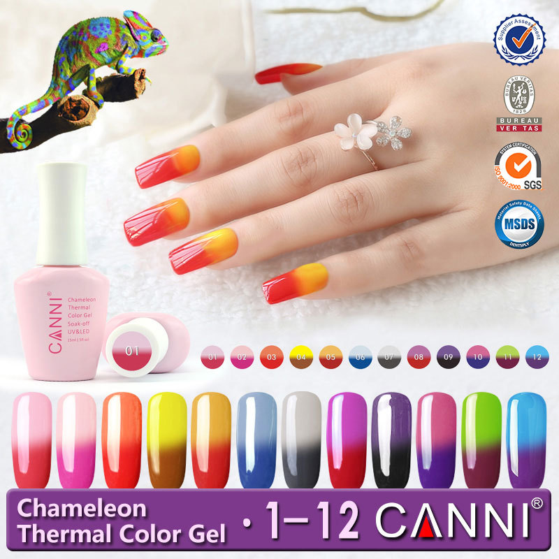 50423j Canni 12 Colors 15ml Chameleon Temperature Color Changing Thermo Uv Gel Nail Polish