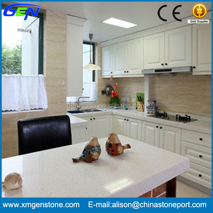 Prefab White Composite Quartz Countertop For Indoor Kitchen