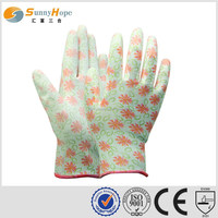 13 Gauge nylon pu palm coating gloves
