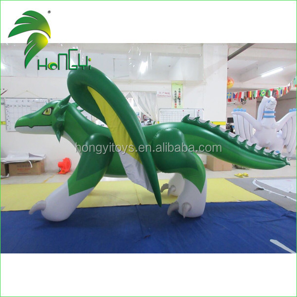 Custom Inflatable Toy Hongyi Animal Character Toys Green Inflatable Dragon Toys with Wings