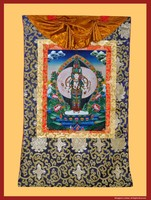 Green Tara Thangka in a Brocade Frame, Hand-Painted in Nepal