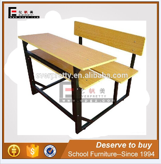 double high school class table, double school desk metal frame
