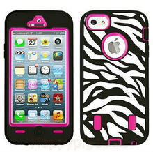 black zebra high impact combo hard rubber case for iphone 5 5g 5th hot pink film