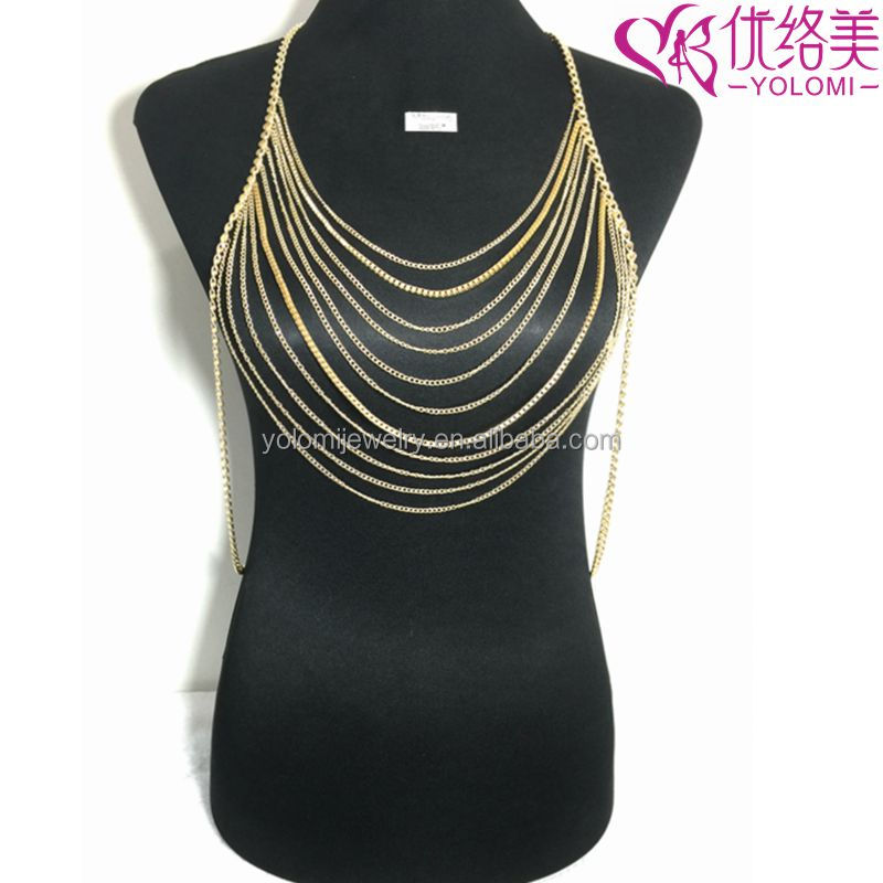 Wholesale Body Bra Chain Multilayer Necklace Non-allergenc Body Jewelry YMBD2-115