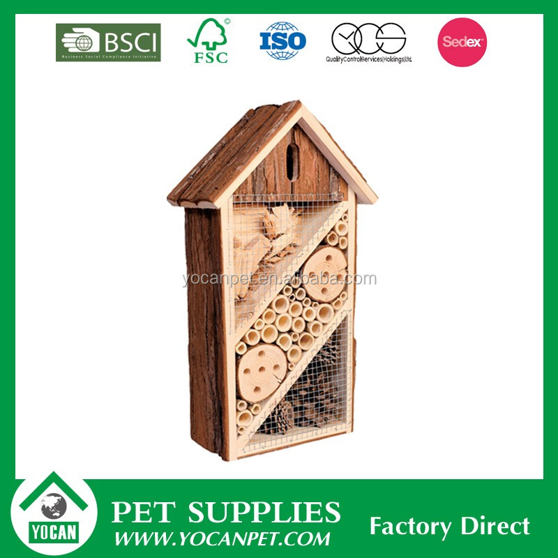 wholesale natural insect cage box hotel mason bee house with net