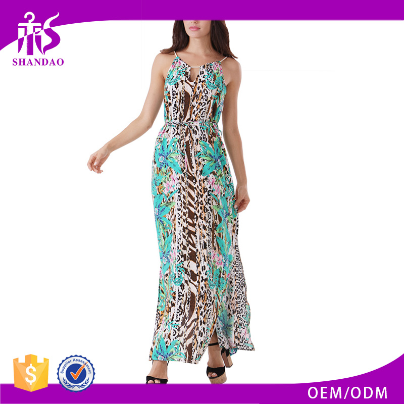 Guangzhou Shandao Designer Fashion Summer Long Printed Sexy Side Slit Sleeveless Woman Clothes 2015