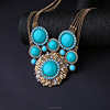 2016 blue stones gold fashionable necklace,qingdao lady turquoise jewelry(PR1234)