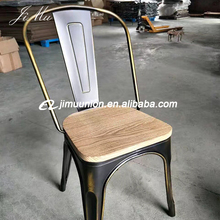 Wholesale Retro Industrial Cafeteria Tolics Stackable Gunmental Bistro Vintage Dining Metal dining Chairs