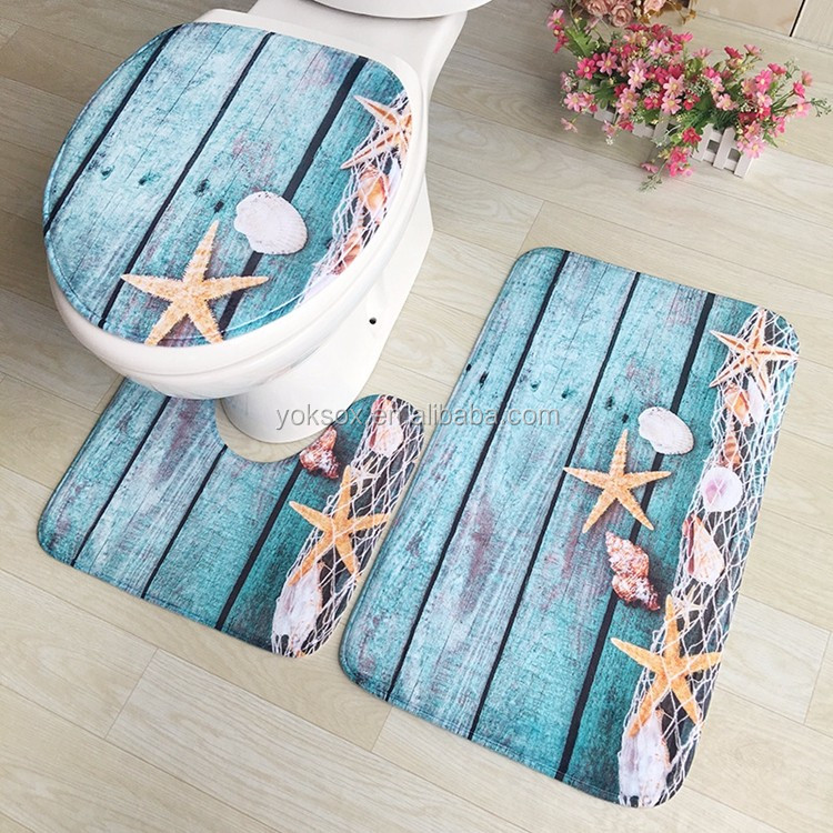 bathroom mat 3pcs set polyester bath rug