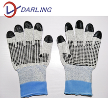 anti cut level 5 gloves HPPE pvc dots on palm cut resistant hand gloves construction gloves