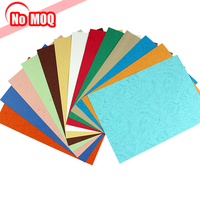 NO MOQ fancy a4 size color embossed cover Leather Grain Paper for binding book