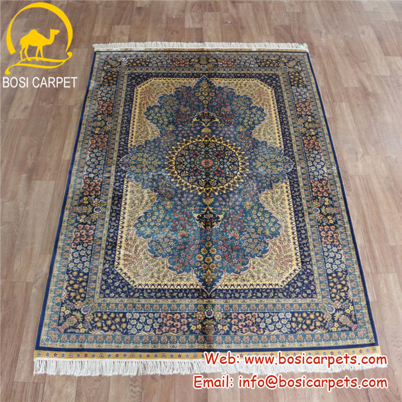 4x6ft Very popular yellow and blue made by man iran carpet rug