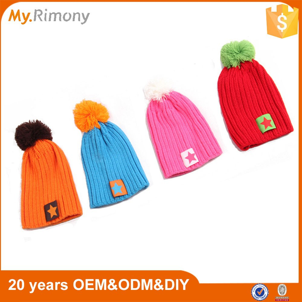 Wholesale 2015 new fashion knit beanie baby hat with ball