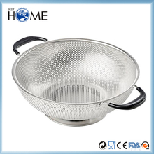 Micro Mesh 304 Stainless Steel Rice Pasta Colander with Heat Resistant Rubber Handles