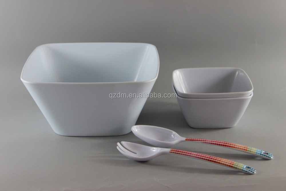 Square Shape Melamine Salad Bowl And Spoon/Fork Set