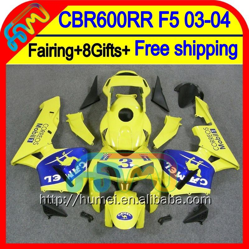 8Gifts Camel blue Injection For HONDA CBR 600RR 600 RR 03 04 50HM42 Yellow blue CBR600 RR F5 CBR600RR 2003 2004 03-04 Fairing