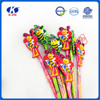 Small bee figures pencil with eraser toppers for school and office