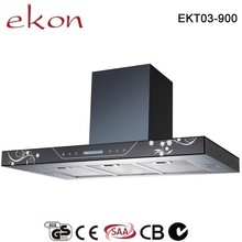CE GS CB SAA Approved soft touch control T shaped restaurant equipment powerful extraction 90cm stainless steel cooker hood