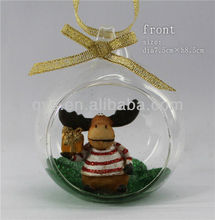 Clear glass deer ornaments for Christmas decoration