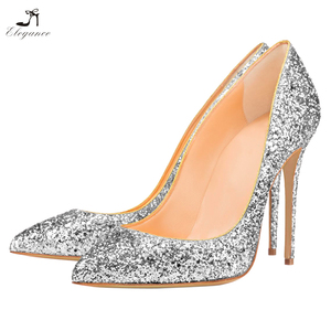 2018 Women Shiny Glitter Pu lining Sliver Pointy Toe Stiletto High Heel Ladies Dress Party Evening Bridal Wedding Shoes
