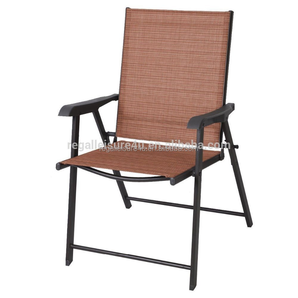 outdoor garden patio steel sling folding chair with plastic arms