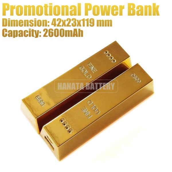 Promotional Gift! 2600 mAh Gold Bar Bullion Mobile Power Bank for Mobile Phones Made in China