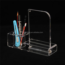 Multi-Function Clear Desk Stationery Organizer With Photo Frame,Custom Acrylic Desk Pen Holder And Pencil Organizer Wholesale