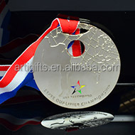Newest customized souvenir 3d metals medal with ribbon