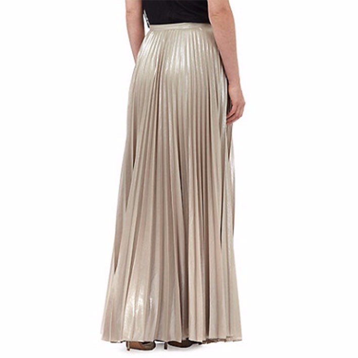 wholesale gold pleated maxi skirt buy maxi