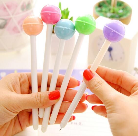 diy creative stationery personalized Novelty plastic Lollipop shaped Ballpoint pen best promotional gift black ink gel pen