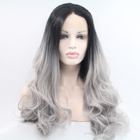 wholesale Natural look premium body wave wig 2T grey ombre wig for black women 1b gray synthetic lace front wig in stock