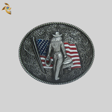 Custom Design Western Cowboy Old Silver Metal Belt Buckle For Men
