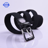 Fashion durable no punch stretch true leather knitted men's braided elastic belt with Ox horn buckle