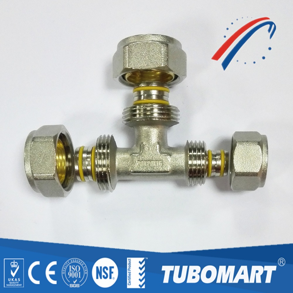 Tubomart pex al pex brass compression fittings tee for pe gas pipe