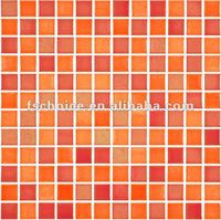 orange ceramic mosaic tiles floor and wall