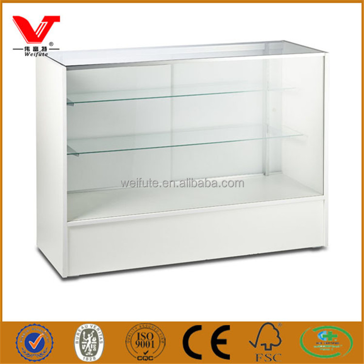 Popular white design glass display counter for shopping mall and chain stores