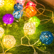4M 20LED Sepak Takraw Rattan Balls LED String Fairy Lights Brown Coffee Christmas Holiday Wedding Party Decoration Lights