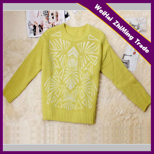 Yellow 3D Printing Angora Knit Sweater For Young Girls