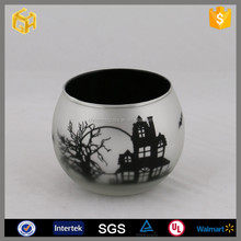 Hot selling glass tealight candle holders Halloween decorations