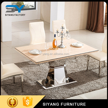 2017 lastest modern model steel base korean dining table CT033