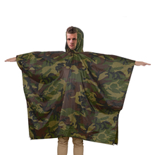 R018-C 100% water proof rubberized camouflage rain poncho with hood