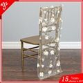 banquet chiavari organza chair caps with flower design for weddings